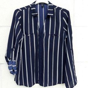 Forever 2 Stripe Blouse NWOT!